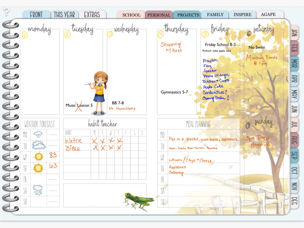 Weekly view of digital planner