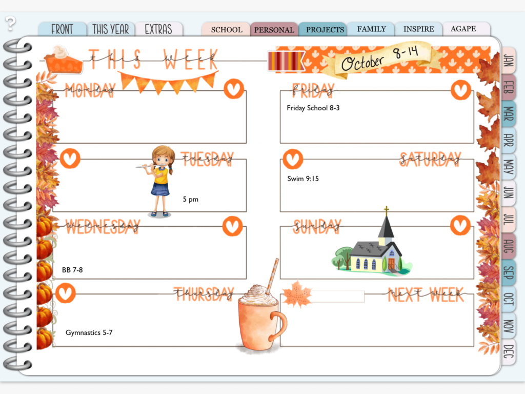 Digital Planner Weekly View