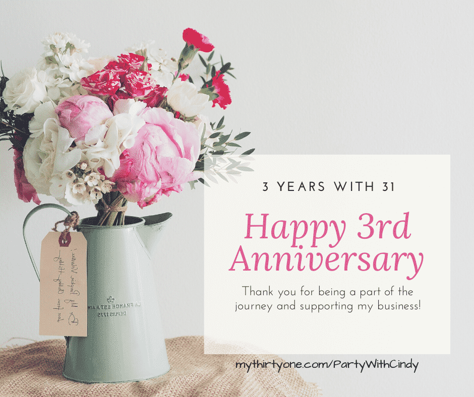 Anniversary Announcement of 3 years with 31
