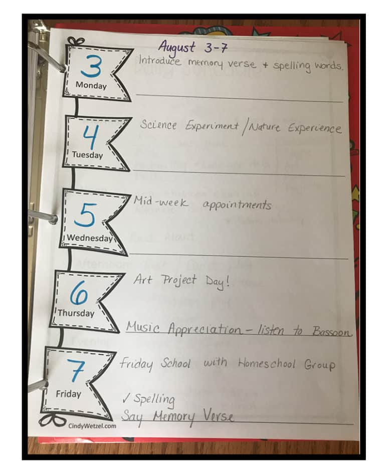Weekly Homeschool Schedule Example