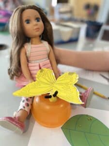 American Doll with Butterfly Model for size comparison