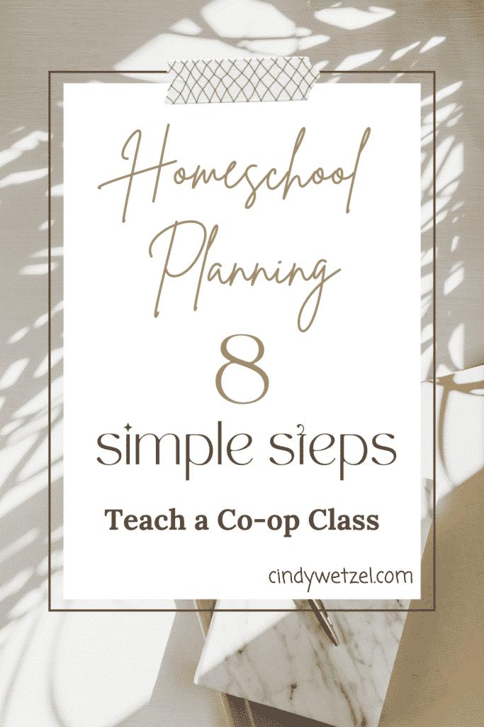 Pinterest Pin for planning homeschool co-op classes